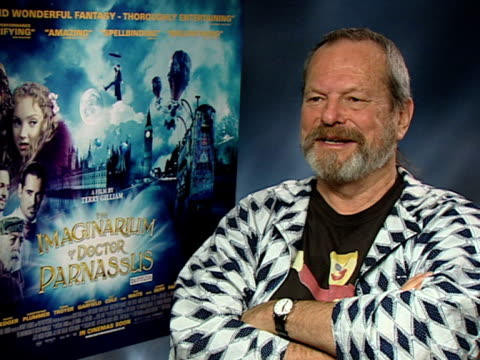 terry gilliam on how you've got to make the world beautiful, whether it's grungy or not, on how he couldn't do a kitchen sink drama, on how you... - terry gilliam stock-videos und b-roll-filmmaterial