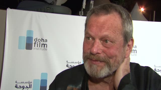 stockvideo's en b-roll-footage met terry gilliam on people being nervous in the film industry at the doha film institute launch cannes film festival 2010 at cannes - terry gilliam