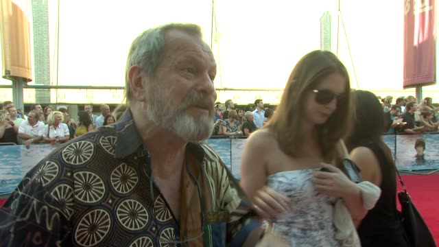 stockvideo's en b-roll-footage met terry gilliam on seeing the movie at the george harrison living in the material world uk premiere at london england - terry gilliam