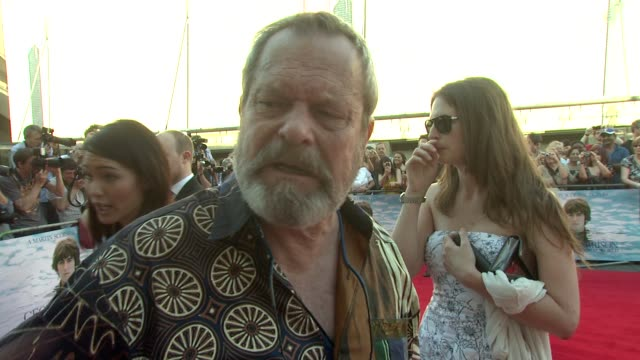 stockvideo's en b-roll-footage met terry gilliam on the best things about george harrison at the george harrison living in the material world uk premiere at london england - terry gilliam