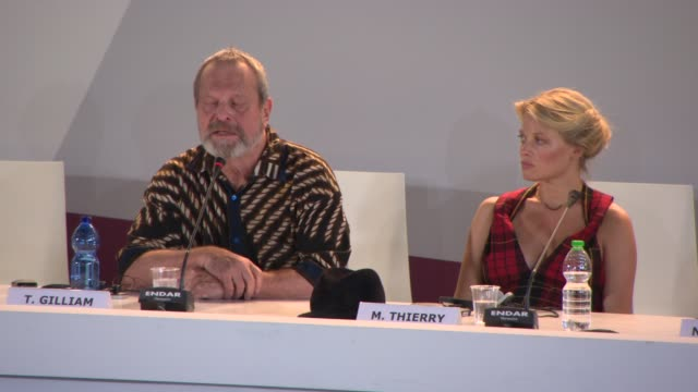 terry gilliam on the main character at 'the zero theorem' press conference on september 01, 2013 in venice, italy - terry gilliam stock-videos und b-roll-filmmaterial