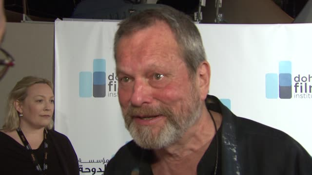 stockvideo's en b-roll-footage met terry gilliam on what he wants to see in new films at the doha film institute launch cannes film festival 2010 at cannes - terry gilliam