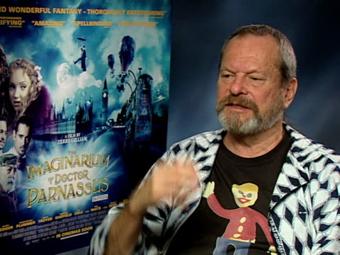 terry gilliam on whether there's something about waiting for godot in the film, on he's inspired by paintings, stories and books, but he has an... - terry gilliam stock-videos und b-roll-filmmaterial