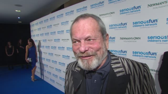terry gilliam on why he supports the charity and the legacy of paul newman at serious fun gala - terry gilliam stock-videos und b-roll-filmmaterial