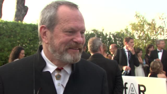 terry gilliam on why he's come tonight at the cannes film festival 2009: amfar red carpet at antibes . - terry gilliam stock videos & royalty-free footage