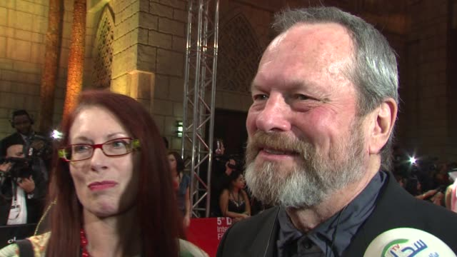 terry gilliam on working on his new film and heath ledgers role and how he replaced him at the dubai international film festival opening night at... - terry gilliam stock videos & royalty-free footage