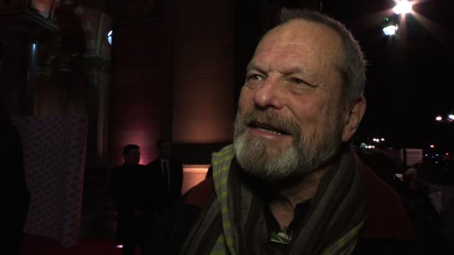 interview terry gilliam talks about this evening and his new short film the wholly family which is up for an award at the european film awards later... - terry gilliam stock videos & royalty-free footage