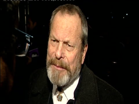 stockvideo's en b-roll-footage met terry gilliam talks to press at british academy of film and television arts awards london 8 february 2009 - terry gilliam