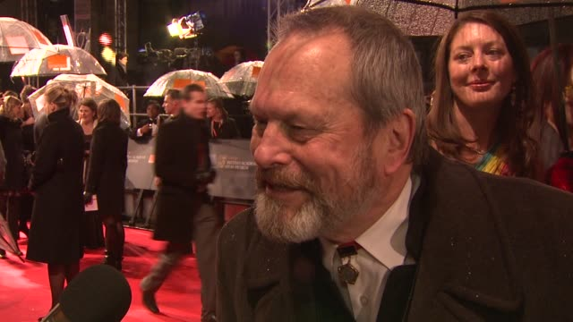 stockvideo's en b-roll-footage met terry gilliam winner of bafta fellowship 'it's an incredible honour i don't know why they chose me' at the the orange british academy film awards at... - terry gilliam
