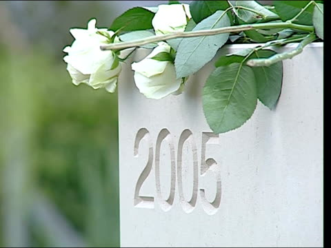 terry lloyd's name engraved on commemorative stone in journalists' memorial garden; france: bayeaux: ext white roses being laid against memorial... - single rose stock videos & royalty-free footage