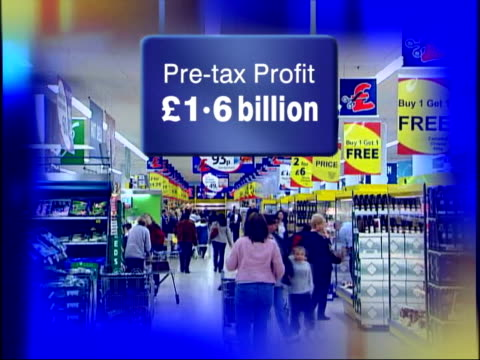 Britain's favourite supermarket GRAPHIC SEQ Customers along with profits sales figures overlaid