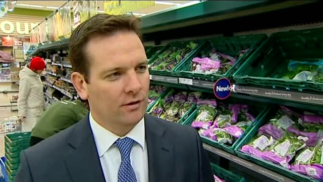 tesco reveals large scale of food waste england hertfordshire int reporter to camera as live matt simister live interview sot shopper at salad... - spinach salad stock videos & royalty-free footage