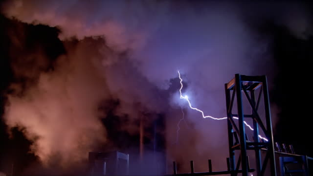 tesla coil and clouds[br] - tesla coil stock videos and b-roll footage