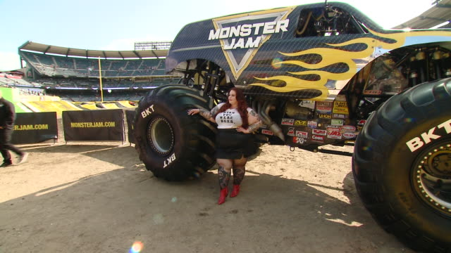 tess holliday at monster jam celebrity event at angel stadium on february 23, 2020 in anaheim, california. - angel stadium stock videos & royalty-free footage