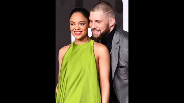Tessa Thompson and Florian Munteanu attend the European Premiere of 'Creed II' at BFI IMAX on November 28 2018 in London England