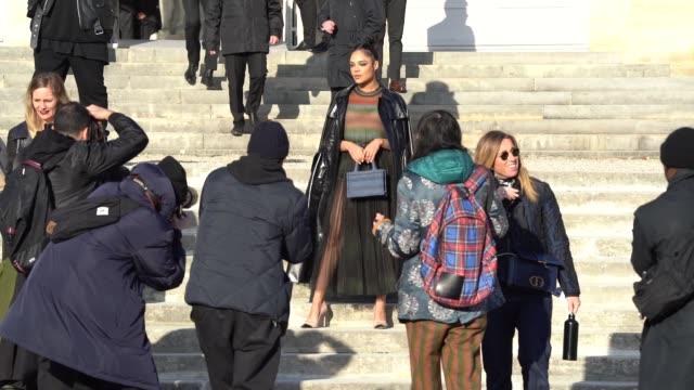 slomo tessa thompson at paris fashion week haute couture spring/summer 2020 dior on january 20 2020 in paris france - fashion week stock videos & royalty-free footage