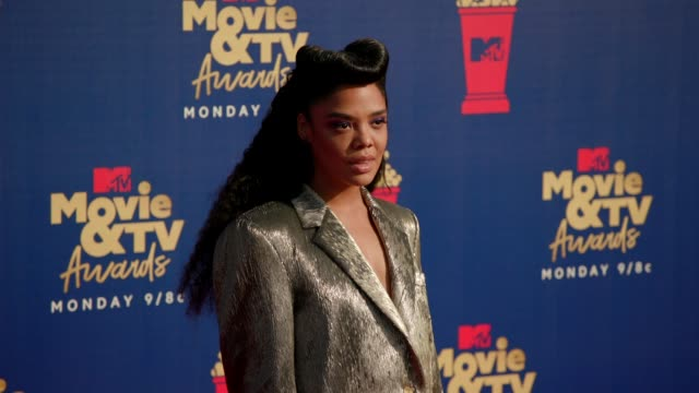 tessa thompson at the 2019 mtv movie tv awards at barkar hangar on june 15 2019 in santa monica california - mtv movie & tv awards stock videos & royalty-free footage
