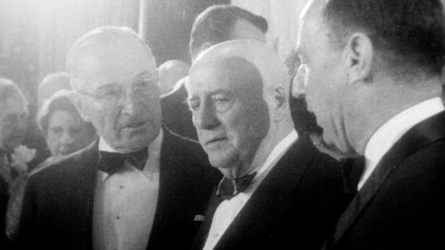 testimonial dinner for house speaker sam rayburn of texas is attended by many party notables including expresident truman adlai stevenson governor w... - sam rayburn video stock e b–roll