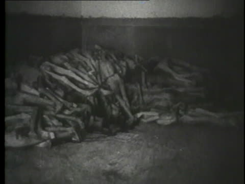 vídeos de stock e filmes b-roll de testimony from the nuremberg trials is heard over a montage of atrocities committed at concentration camps. - nazismo