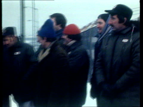 texaco's petrol tanker drivers to go on strike england manchester cs manchester esso terminal sign pull to pickets standing in snow cms pickets pan... - 1979 stock videos and b-roll footage