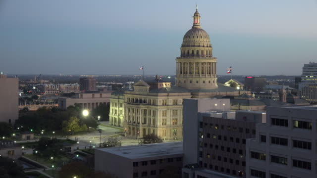texas austin capitol building after sunset - texas state capitol building stock videos & royalty-free footage