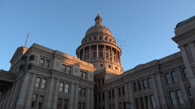 texas austin capitol view of dome with birds - texas state capitol building stock videos & royalty-free footage