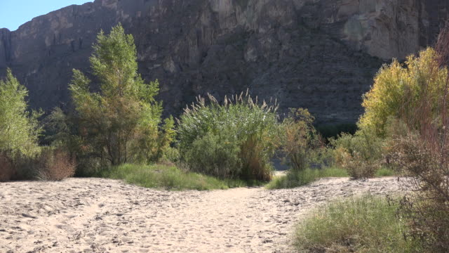 Texas Big Bend Santa Elena Canyon with sandy flood plain