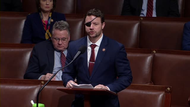 texas congressman daniel crenshaw says in debate on the cares act to deal with economic and health care aspects of the coronavirus outbreak that... - disegno di legge video stock e b–roll