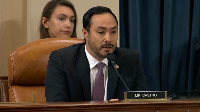 texas congressman joaquin castro asks former us ambassador to ukraine marie yovanovitch at the second public impeachment inquiry hearing of president... - politics and government stock videos & royalty-free footage