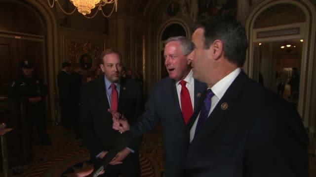 texas congressman john ratcliffe tells reporters at a press stakeout outside the senate chamber during the second senate sitting for the impeachment... - partisan politics stock videos & royalty-free footage