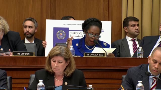 texas congresswoman sheila jackson lee asks attorney general jeff sessions at a house judiciary committee oversight hearing of the justice department... - identity stock videos and b-roll footage