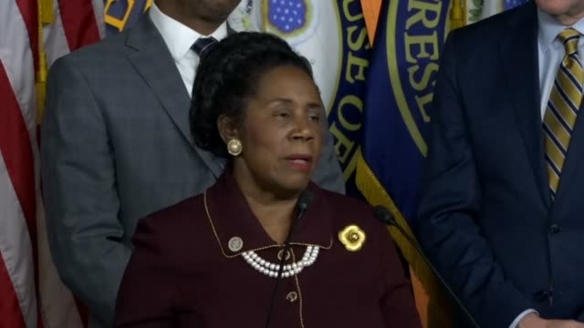 texas congresswoman sheila jackson lee says at a news conference after the first step act criminal justice reform bill was passed and ready to be... - disegno di legge video stock e b–roll