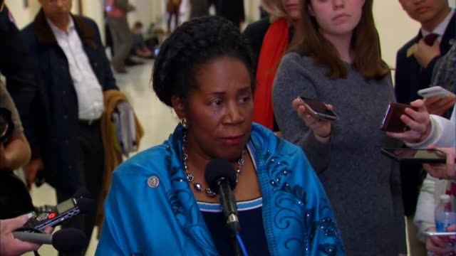 Texas Congresswoman Sheila Jackson Lee with the House Judiciary Committee tells reporters after leaving a closed door interview with former FBI...