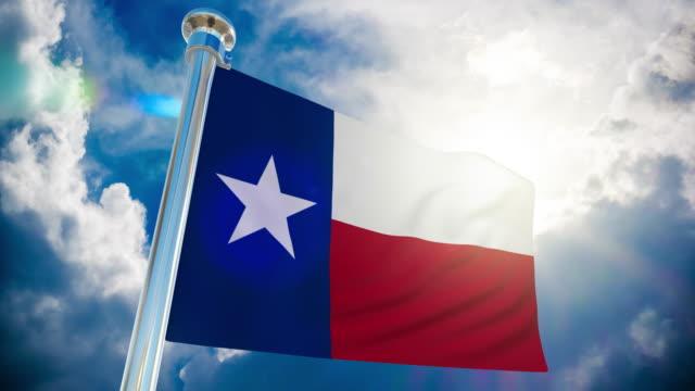 4k texas flag - loopable stock video - fahnenstange stock-videos und b-roll-filmmaterial