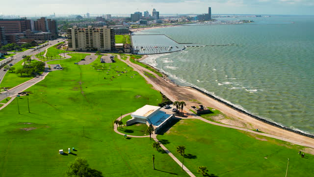 texas gulf coast above bay front view in corpus christi , texas - corpus christi texas stock videos & royalty-free footage