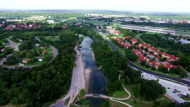 texas hill country georgetown tx aerial view with windy river adding to a beautiful small town - georgetown texas stock videos & royalty-free footage