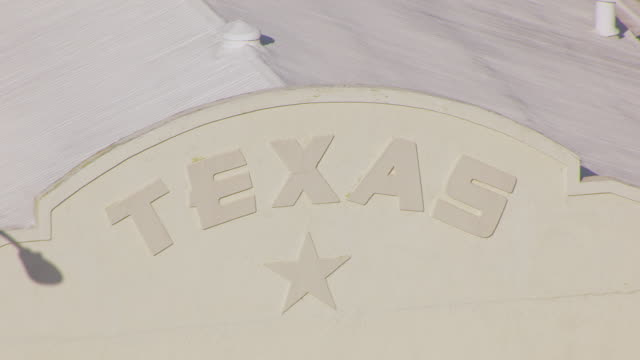 CU AERIAL TS ZO Texas Lone Star on building and entire building / Marfa, Texas, United States