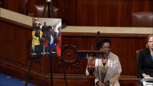 Texas Representative Sheila Jackson Lee argues from the well of the house that the first amendment does not define standing for the national anthem...