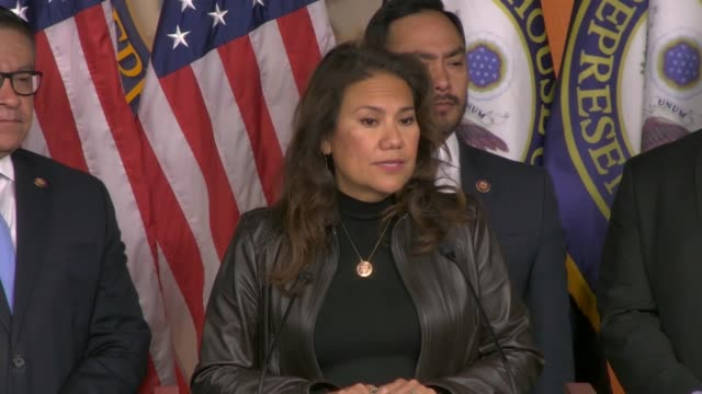 texas representative veronica escobar says at a press conference after supreme court oral argument on the daca program that recipients have lived... - 動物を使うスポーツ点の映像素材/bロール