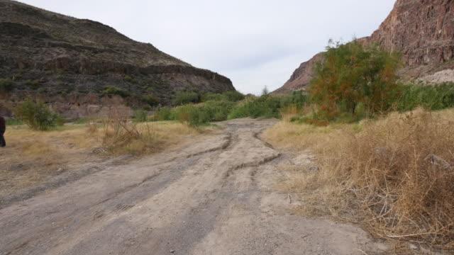 Texas River Road moving down dirt road