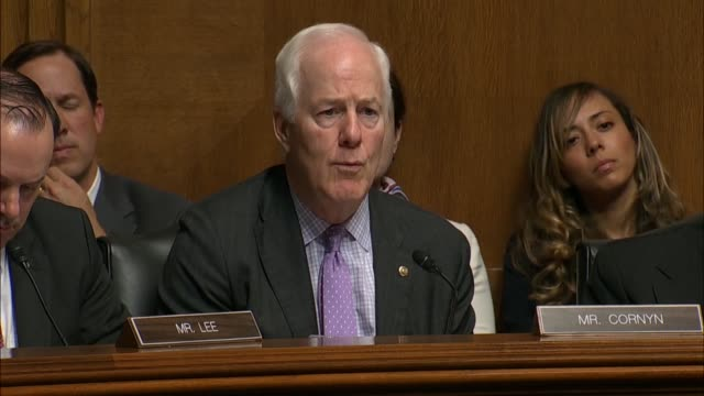 Texas Senator John Cornyn asks Attorney General William Barr at a Senate Judiciary Committee hearing on the report of special counsel Robert Mueller...