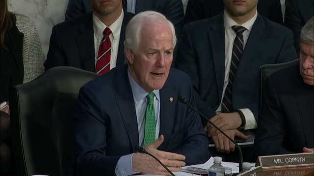 stockvideo's en b-roll-footage met texas senator john cornyn questions facebook ceo mark zuckerberg at a joint hearing on data privacy about terms of service for using the social media... - verkopen