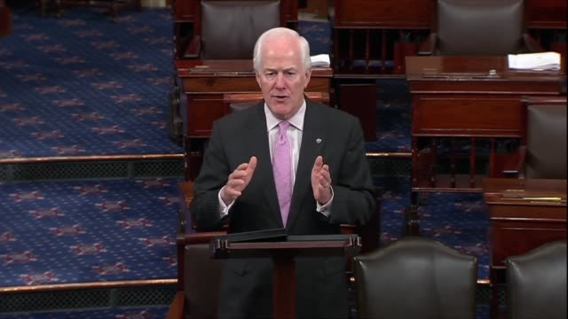 texas senator john cornyn says hours after the judiciary committee reported the supreme court nomination of judge brett kavanaugh to the senate on... - papier stock videos & royalty-free footage