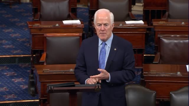 texas senator john cornyn speaks on the floor after the senate returned from an independence day recess to encourage all senators to listen to the... - 緊急援助点の映像素材/bロール