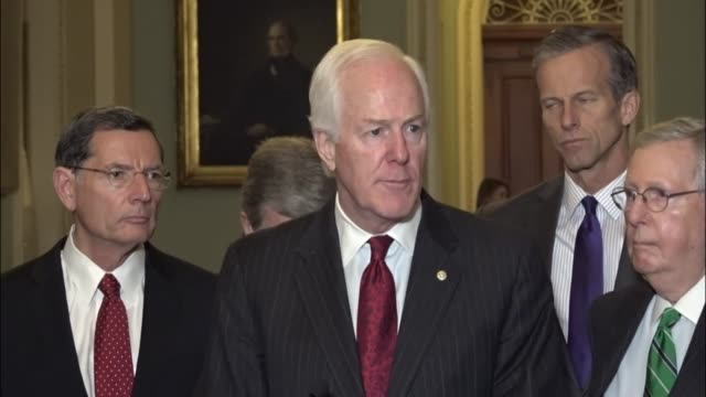 texas senator john cornyn tells reporters at a regular weekly briefing that nominees of president donald trump will move over foot dragging by... - southwest florida stock videos & royalty-free footage