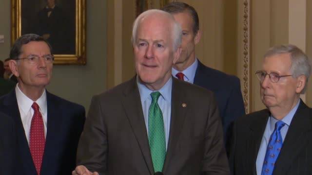 stockvideo's en b-roll-footage met texas senator john cornyn tells reporters at a weekly briefing during a lame duck session as the first step act was before the senate that states... - vermindering