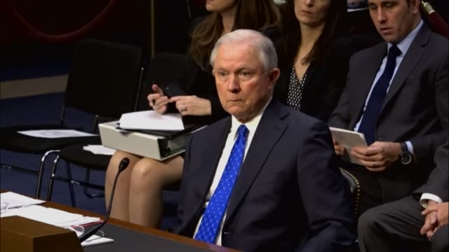 Texas Senator Ted Cruz questions former colleague Attorney General Jeff Sessions at an oversight hearing by the Senate Judiciary Committee about...