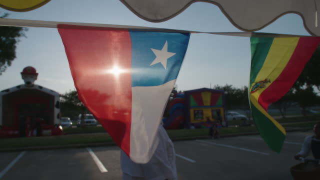 Texas State flag flies with sun in background, slow motion