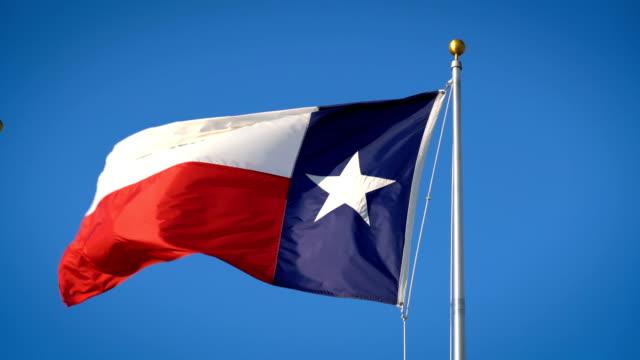 texas zustand-fähnchen im wind - fahnenstange stock-videos und b-roll-filmmaterial
