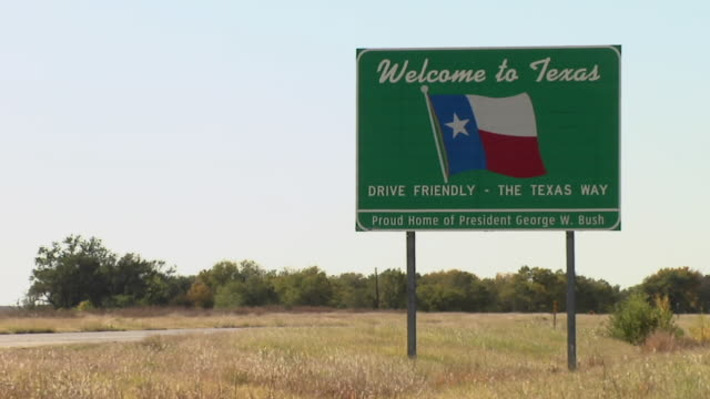 WS, Texas welcome sign, Texola, Texas, USA